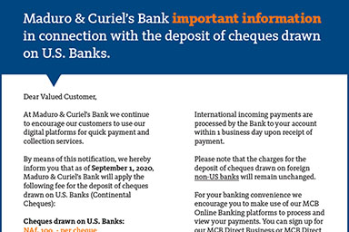 Fee for deposit of cheques drawn on US Banks